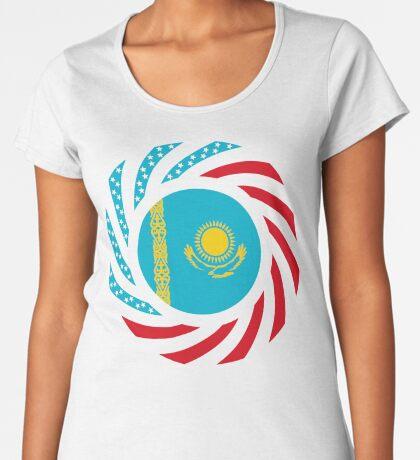 Kazakhstani American Multinational Patriot Flag Series Premium Scoop T-Shirt