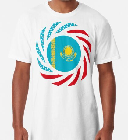 Kazakhstani American Multinational Patriot Flag Series Long T-Shirt