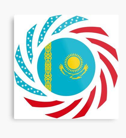 Kazakhstani American Multinational Patriot Flag Series Metal Print