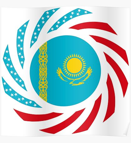 Kazakhstani American Multinational Patriot Flag Series Poster