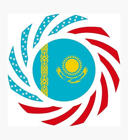 Kazakhstani American Multinational Patriot Flag Series Photographic Print