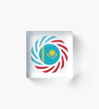 Kazakhstani American Multinational Patriot Flag Series Acrylic Block