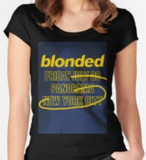blonded Panorama Blue (no globe) Women's Fitted Scoop T-Shirt