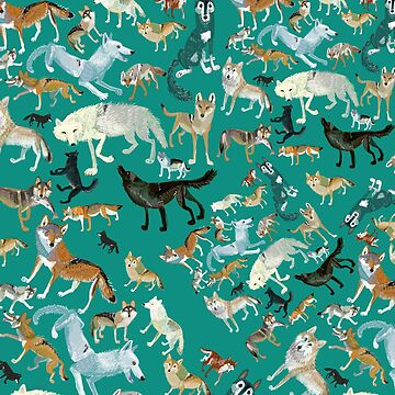 Wolves of the World (Green pattern) by belettelepink
