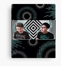 Blue and White and Black Canvas Print