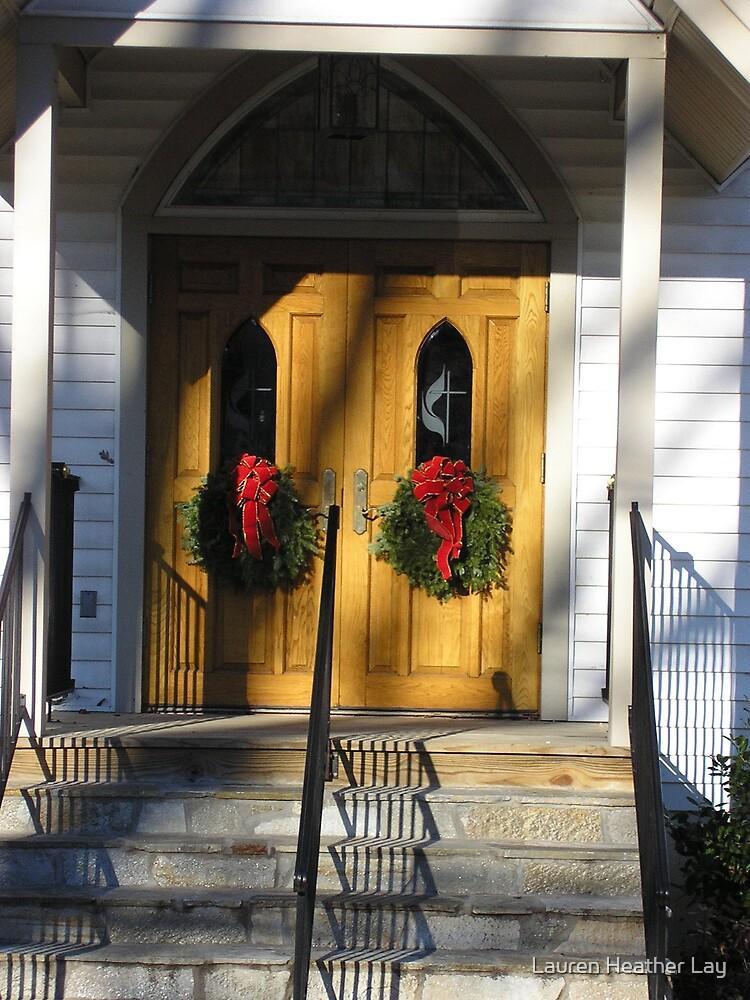 church door with wreaths by Lauren Heather Lay