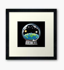 Flat Earth Snow Globe - The True Man Show - Veritas. Truth. Framed Print