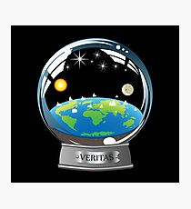 Flat Earth Snow Globe - The True Man Show - Veritas. Truth. Photographic Print
