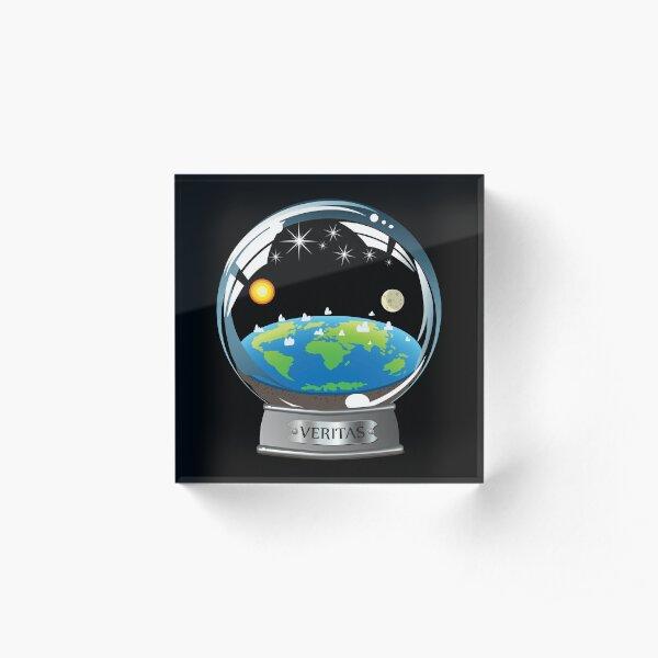 Flat Earth Snow Globe - The True Man Show - Veritas. Truth. Acrylic Block