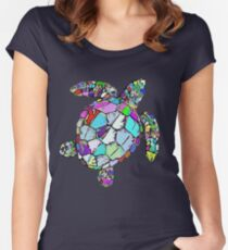 Psychedelic Sea Turtle Women's Fitted Scoop T-Shirt