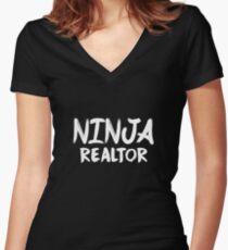 Ninja Realtor Women's Fitted V-Neck T-Shirt