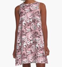 Dinosaur Pattern in Dusty Rose A-Line Dress