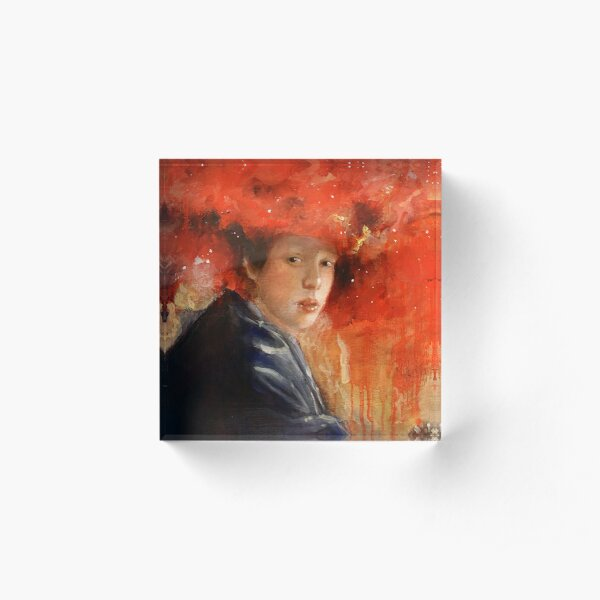 Girl with a Red Galaxy Hat Acrylic Block
