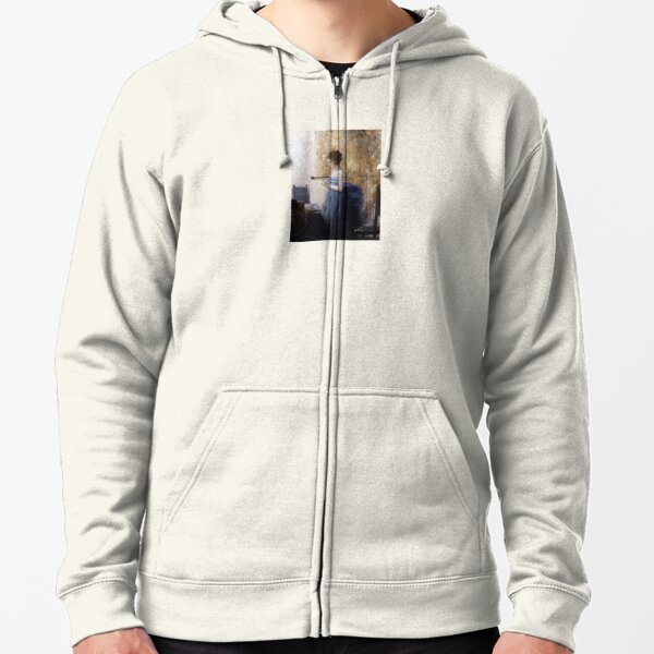 Girl Reading a Text Zipped Hoodie