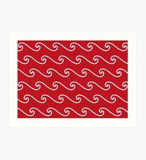 Wellenmuster | Rot und weiß Kunstdruck