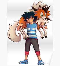 Ash with Dusk Lycanroc Poster