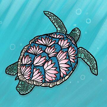 lotus flower sea turtle by jennieclayton