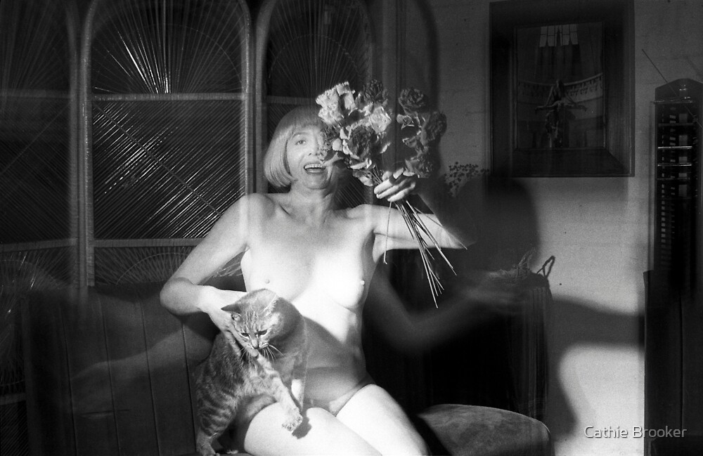 Cathie, Alley Cat & Flowers1996 by Cathie Brooker
