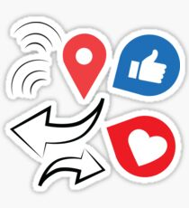 facebook thumb up, like, wifi, share, and check in icon Sticker