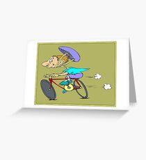 COMIC ABSTRACT BICYCLE RIDING PRINT Greeting Card