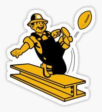 Pittsburgh Steel Worker Kicking Football Sticker