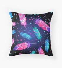 Featrers On Black Throw Pillow
