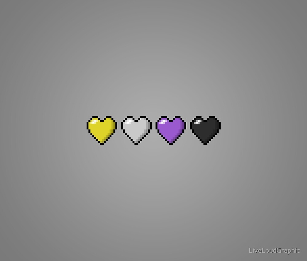 Non-Binary Pixel Hearts by LiveLoudGraphic