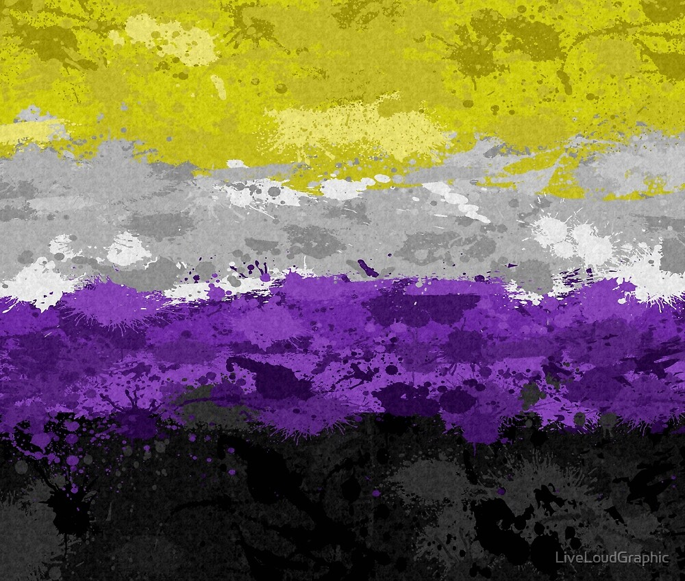 Non-Binary Paint Splatter Flag by LiveLoudGraphic