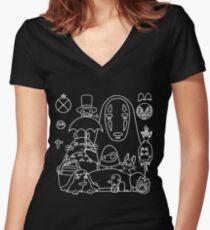 Camiseta entallada de cuello en V Ghibli en negro