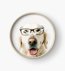 Clever Golden Retriever Clock