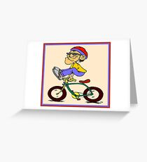 COMIC STUNT RIDING ABSTRACT BICYCLE PRINT Greeting Card