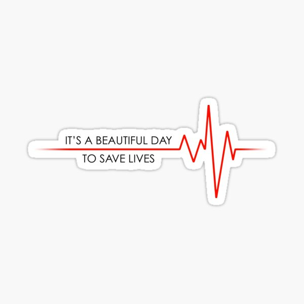 Beautiful Day to Save Lives Sticker