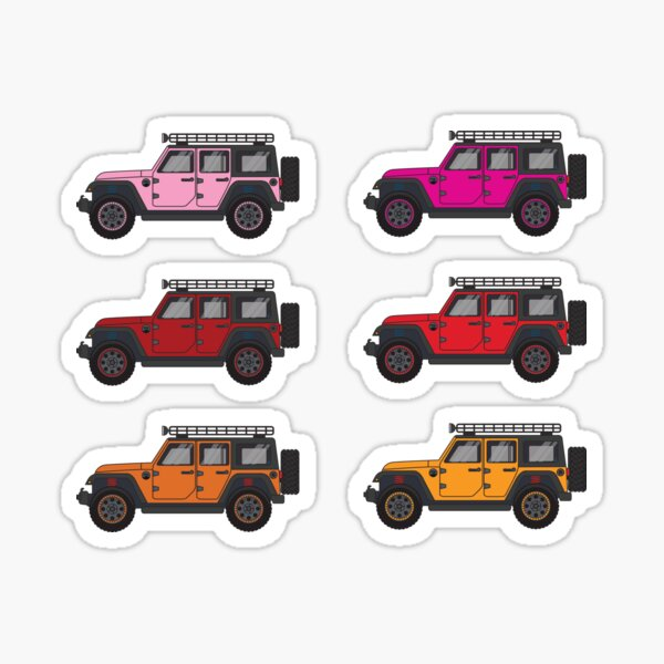 Red, Pink, and Orange Jeep Wranglers Sticker