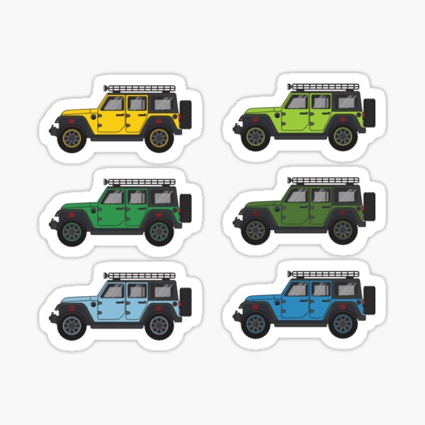 Green and Blue Jeep Wranglers Sticker