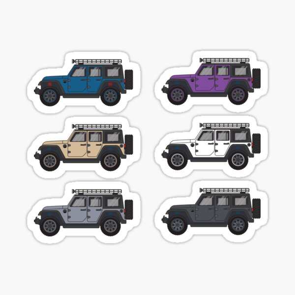Blue, Purple, and Neutral Jeep Wranglers Sticker