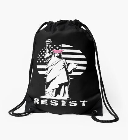Lady Liberty Pink Protest Drawstring Bag