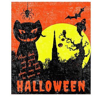 Funny Halloween Black Cat Moon Night by mashingTees