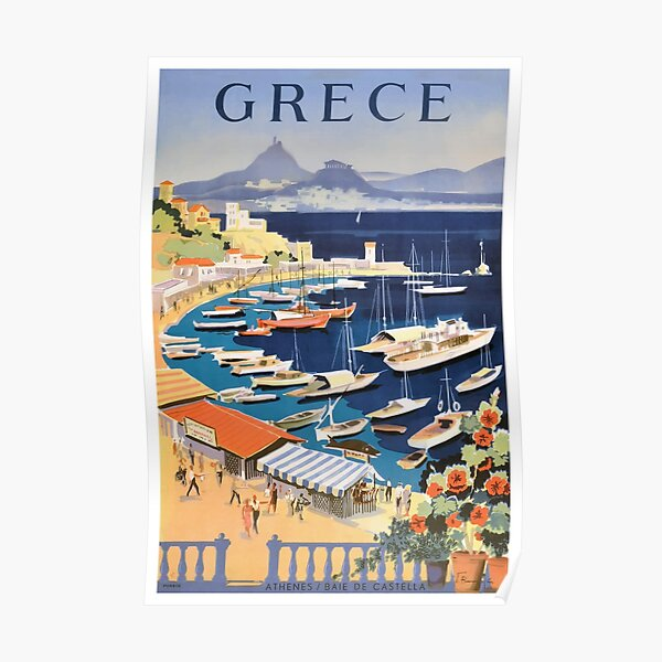 1955 Greece Athens Bay of Castella Travel Poster Poster