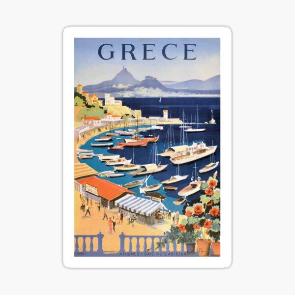 1955 Greece Athens Bay of Castella Travel Poster Sticker
