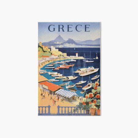1955 Greece Athens Bay of Castella Travel Poster Art Board Print