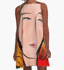 Turquoise Girl Portrait Pop A-Line Dress