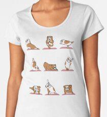 Englisches Bulldoggen-Yoga Premium Rundhals-Shirt