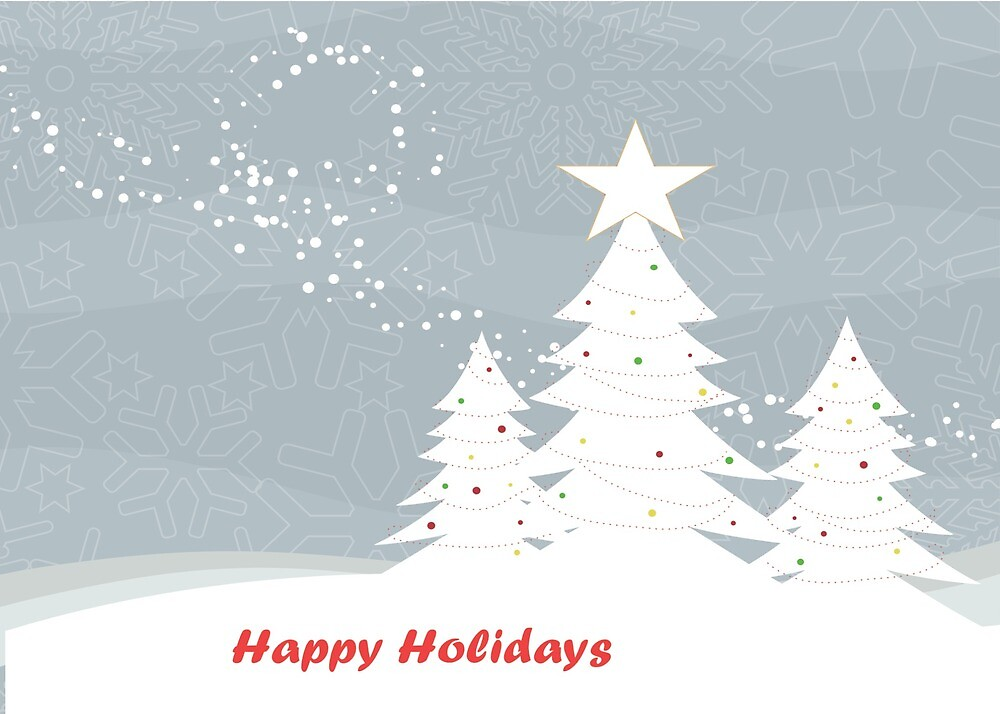 """Snowfall and Pine Trees - """"Happy Holidays"""" by Chiwow-Media"""