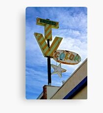 Retro Neon Color TV Sign with Star Canvas Print