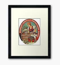 Girl with beers, barrel, Soviet vintage sticker Framed Print