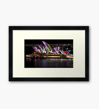 Peacock Sails - Sydney Vivid Festival - Sydney Opera House Framed Print