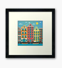 European City. Urban Scene. European Architecture. Vintage House. River with Boats. Travel Background. Flat style Framed Print