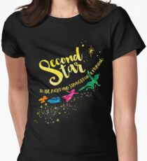 Second star to the right and straight on 'til morning. Peter Pan. Women's Fitted T-Shirt