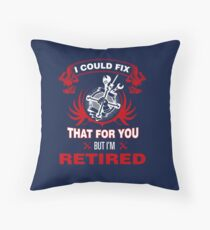 Funny Retired Mechanic Shirts. Retirement Gifts For Women Throw Pillow