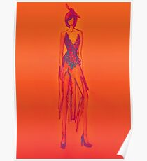 Fashion design sketch of beautiful lady on orange background  Poster